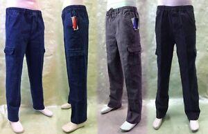 Übergröße 4XL-5XL Herren Stretch Jeans Schlupfhosen Baumwolle Cargo Gummibund