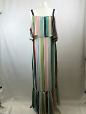 M&S ladies maxi tiered dress short sleeve multicoloured polyester size 14 new 00