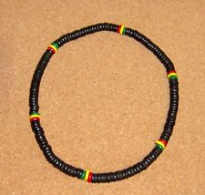 BEADED NECKLACE BLACK WOOD COCONUT BEADS HANDMADE SURF RASTA BEACH mens womens
