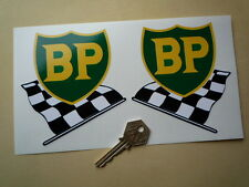 "BP 58-89 Shield & Chequered Flag Car STICKERS 4"" Pair Lotus BRM Ferrari F1 Alfa"
