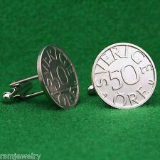 "Swedish Vintage Coin Cufflinks, ""Sverige 50 Ore"" Sweden Scandinavian"