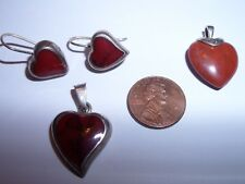 Stone Heart Pendant Drop Earrings Set Vintage Sterling Silver Ati Mexico Red