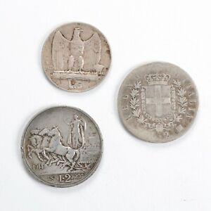 ITALIA REGNO D'ITALIA  Lotto 3 monete in argento da 2 lire e 5 Lire