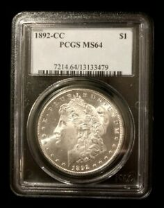UNITED STATES 1892-CC MORGAN SILVER DOLLAR COIN - PCGS MS64 - NO RESERVE !!