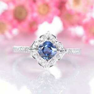 0.60 Ct Cushion Cut Solitaire Blue Sapphire Engagement Ring 14K White Gold Over