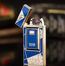 Electric Dual Arc Lighter Plasma Pulse Windproof USB Charging Gifts Dark Blue