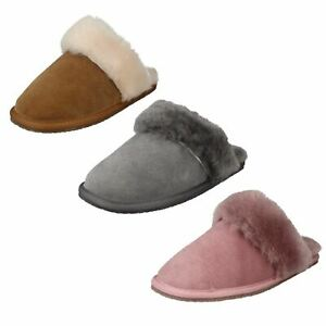 Ladies Clarks 'Warm Lux' Pink Or Grey Warm Lined Mule Slippers