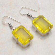 "Earrings 1.36"" Ae 54049 Leman Topaz Ethnic Jewelry Handmade"