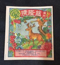 Vintage Yick Loong firecracker label DEER BRAND;  no crackers!!  fcp9