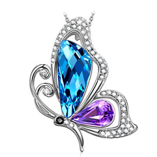 Christmas Gifts Jewelry Mom Women Necklace Pendant Blue Purple Swarovski Crystal