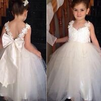 Baby Flower Girl Dress Backless Party Gown Wedding Bridesmaid Straps Dresses