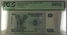 31.7.2007 Congo Democratic Republic 100 Francs Note SCWPM# 98a PCGS GEM 68 PPQ