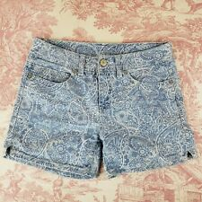 Faded Glory Jean Shorts Paisley Blue Size 4 womens