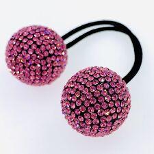 USA Hair Rope Wrap use Swarovski Crystal Ball Hairpin Ponytail Holder Hot Pink