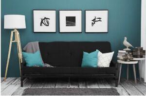 Mainstays 2240059WE Metal Arm Futon Sofa Bed - Black