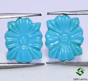 5.07 Cts Certified Natural Turquoise Hand Made Carving Pair 12x10 mm Gemstones