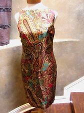 Ralph Lauren Silk Paisley Sleeveless Shift Boatneck Dress Olive/red/multi 4p