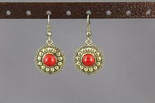 "red antiqued gold earrings medallion coin dangle drop 1.5"" long liteweight"