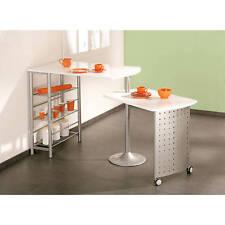 Table de cuisine modulable d´appoint pivotante console meuble de rangement BLANC