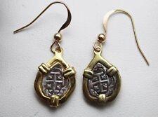 ATOCHA Earrings Coin GP over 925 Sterling Silver Sunken Treasure Jewelry