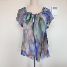 Husk silk multicoloured feathered rainbow top blouse Made in Italy Size 8