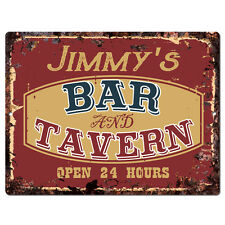 PPBT0099 JIMMY'S BAR and TAVERN Rustic Tin Chic Sign Home Store Decor Gift