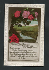 C1920s Birthday Card - Roses - Dear Brother, Be Full Of Love And Cheer