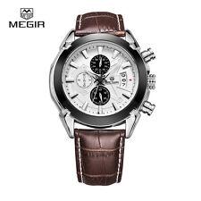 MEGIR SL2020G Leather Quartz Watches Men Strap Waterproof Wristwatch Brown