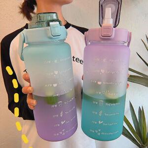 2L Large-capacity Water Bottle With Bounce Lid Timeline Reminder Sport Bottle AU