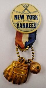 1940's-50's New York Yankees Pin Pinback Button with Ribbon Ball Mitt