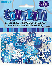 80th BIRTHDAY PARTY SUPPLIES CONFETTI FOR TABLE DECORATIONS (14g) - SLVR & BLUE