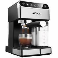 Aicook- Cafetera superautomática, 15 bares presión, depósito agua extraíble 1,5L