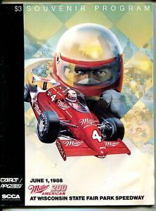 State Fair Park Speedway CART Indy Car Race Program-6/1/1986-Milwaukee-VF/NM