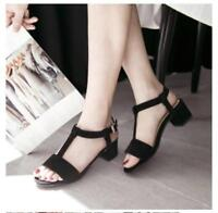 Roman Shoes T-Strap Ankle Strap Mid Chunky Heel Shoes SZ Womens Open Toe Sandals