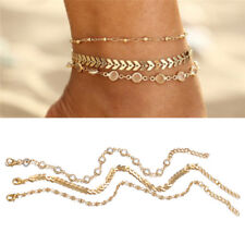 Barefoot Sandal Beach Jewelry Xr 3X/Set Crystal Chain Statement Anklet Bracelet