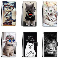Flip 3D Cool Cat Cartoon Animals Leather Card Stand Phone Case For iphone Covers