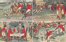 Van Houton's Cocoa group of 4 advertising postcards fox hunting with print back