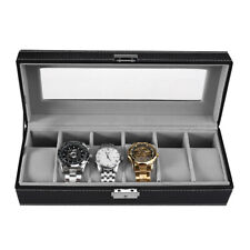 Mens 6 Grid Leather Watch Display Case Jewellery Collection Storage Holder Box