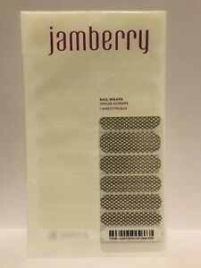 New JAMBERRY Nail Wraps GOLD FISHNET Clear Retired FULL SHEET