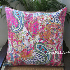 """Large 24X24"""" Pink Pillow Cushion Covers Bohemian Floral Kantha Stitch Case Throw"""
