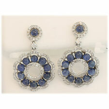 ESTATE 14KW CUTE BLUE SAPPHIRE EARRINGS CABS DANGLING AND DIAMONDS
