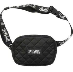 Victorias Secret PINK Logo Quilted Belt Bag Fanny Pack Waist Purse Black