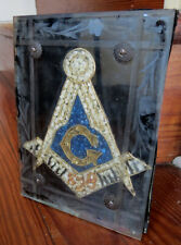 ANTIQUE MASONIC SYMBOL MICRO MOSAIC UNDER GLASS - Lodge 528