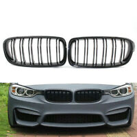 Pair Front Kidney Grilles Grill For BMW F30 F35 Dual Line Gloss Black 12-16 SPE