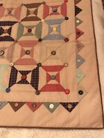 Quilted Wall Hanging - Gorgeous Spool Pattern Rustic Primitive Multicolor Button