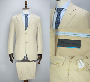 Great SUITSUPPLY Beige HAVANA PURE COTTON Solid Summer Suit 50 IT 40 US/UK 34X31
