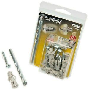 Cobra 6MM Grey TripleGrip Universal Wall Plug with Screws & Drill Bit - 17 PCS