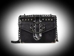 New Gothic Black Faux Leather Metal Buckle Studded Shoulder Handbag Small Bag