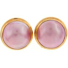 "5/8"" PINK MABE PEARL 24K GOLD PLATED 925 STERLING SILVER OMEGA POST earrings"