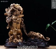 48CM Indonesia Agarwood China Foo Dog Lion Animal Wealth Ding Fengshui sculpture